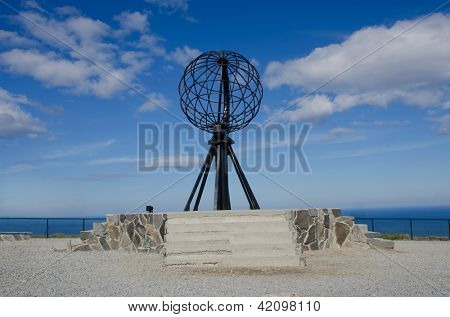 Symbolic globe at the North Cape/ Nordkapp, Norway poster