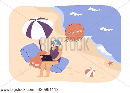 Woman Working Remotely On Beach. Female Cartoon Character With Laptop On Seashore Flat Vector Illust