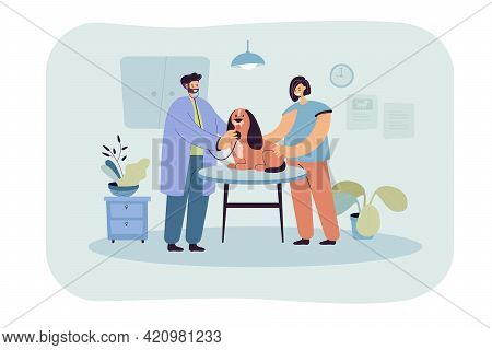 Veterinarian Examining Cute Dog In Clinic. Cartoon Doctor With Animal, Female Owner, Medical Center