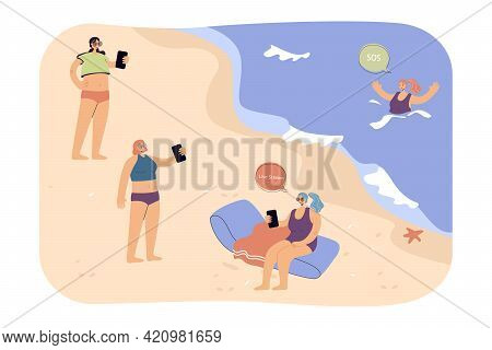 People On Beach Ignoring Drowning Woman. Female Characters Livestreaming On Seashore While Girl Aski
