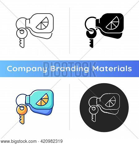 Branded Keyring Icon. Fashionable Accessories For Keys Of House Or Cars. Designers Creating Unique I