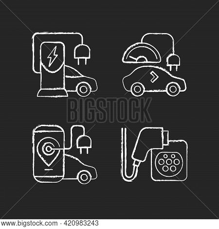 Electric Vehicle Charging Chalk White Icons Set On Black Background. Charging Adapter And Converter