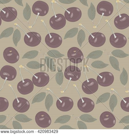 Fruit Background With Ripe Cherries With A Stem And Leaf On A Beige Background. Seamless Vector Patt