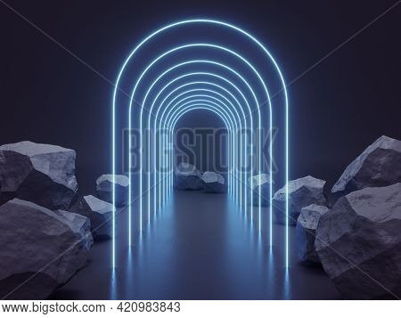Arch of neon rays among stones on dark background, product demonstration concept, 3D illustration, rendering.