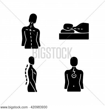 Postural Dysfunction Black Glyph Icons Set On White Space. Head Tilt. Incorrect Sleeping Position. N