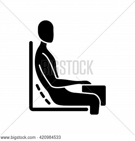 Bad Sitting Habit Black Glyph Icon. Leaning Back Into Chair Backrest. Incorrect Sitting Angle. Leani