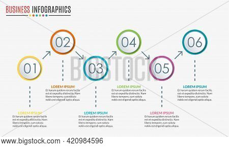 6 Steps Infographic Design. Template For Diagram, Graph And Chart. Timeline Design With 6 Levels, Op
