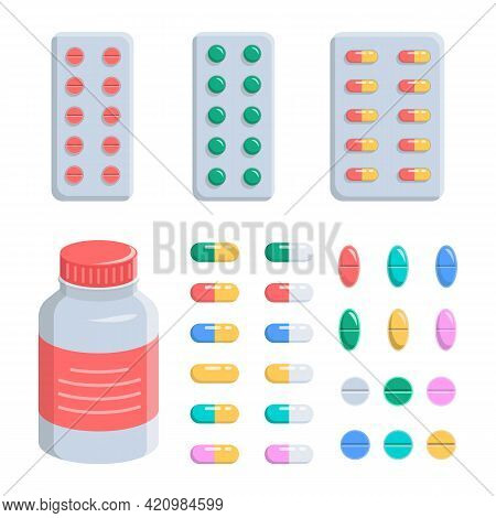 Pills, Capsules, Vitamins, Pain And Antidepressants In Blisters And In A Jar. Set Is Medical, Pharma