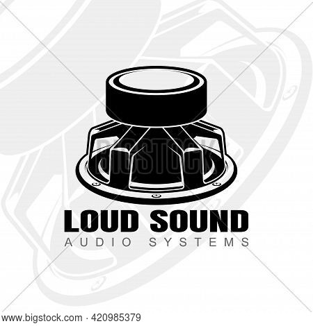 Logo Design With Audio Speaker Turned Magnet Up. Sound System Speakers. Music Icon. Musical Column S