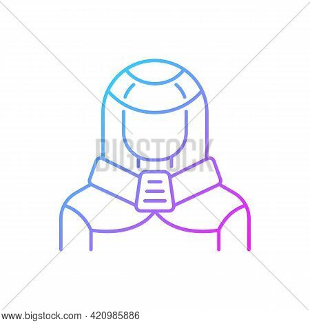 Protection Suit Gradient Linear Vector Icon. Robotic Person, Cyborg. Human In Cyberpunk Costume. Fut