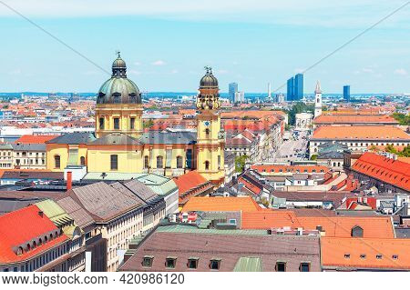 Panoramic View Of Theatine Church And Odeonsplatz In Munich Germany . Central City View Of Capital A