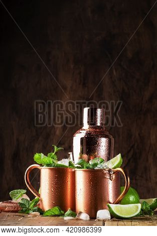 Moscow Mule Or Mint Julep Alcoholic Cocktail In Copper Mug With Lime, Ginger Beer, Vodka And Mint. W