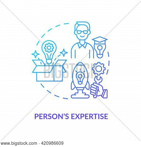 Person Expertise Navy Gradient Concept Icon. Essential Business Knowledge. Skills Improvement. Profe