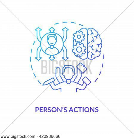 Person Actions Navy Gradient Concept Icon. Business Development, Influence And Impact. Employee Qual