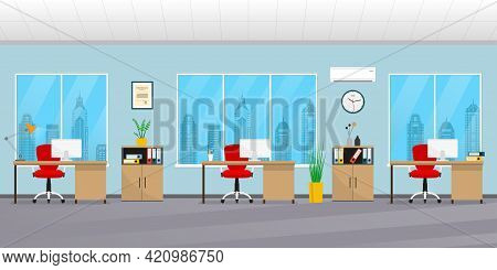 Office Interior. Modern Business Background. Workspace With Office Chair, Desk, Computer, Bookcase,