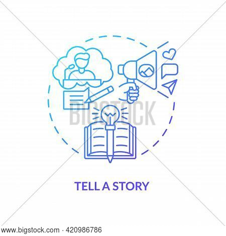 Tell Story Navy, Blue Gradient Concept Icon. Define Your Principles. Brand Storytelling. Engaging Ta