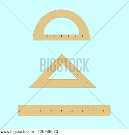 Set Square Plastic Transparent Ruler, Triangle Ruler And Protractor Ruler