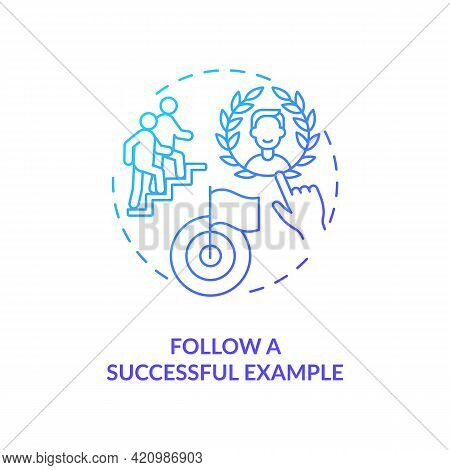 Follow Successful Example Navy Gradient Concept Icon. Sharing Experience. Personal Brand Building. L