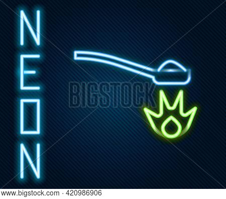 Glowing Neon Line Heroin In A Spoon Icon Isolated On Black Background. Concept Of Drug Addiction And