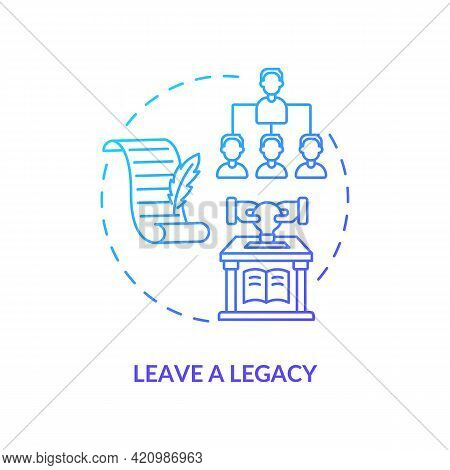 Leave A Legacy Navy Gradient Concept Icon. Successful Leader. Positive Impact And Influence. Company