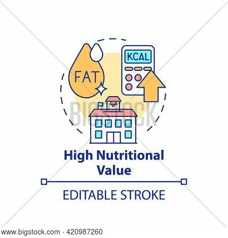 High Nutritional Value Concept Icon. School Healthy Eating Plan. Special Meal Planning Full Of Nutri