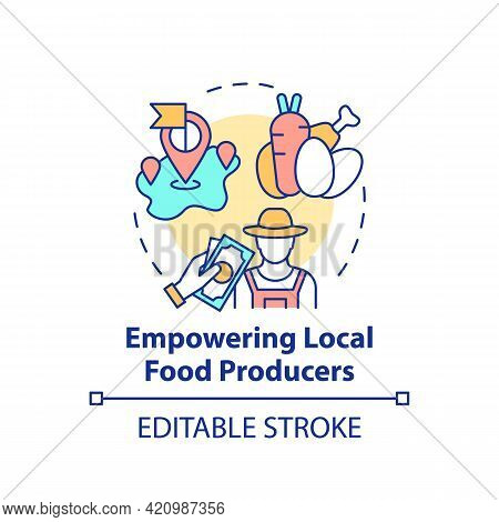 Empowering Local Food Producers Concept Icon. Eating Health Natural Foods In Schools. Full Nutrition
