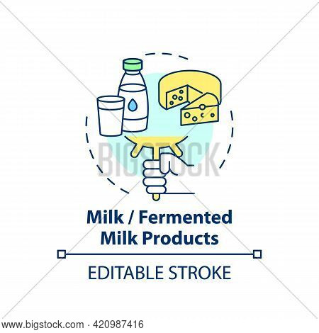 Milk Or Fermented Milk Products Concept Icon. Dairy Products Included In School Lunch. Healthy Eatin