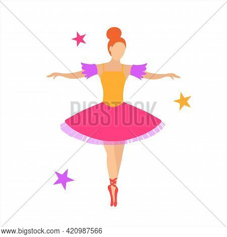 Graceful Ballerina In A Pink Tutu On Pointe Shoes. Vector Isolated Illustration In Flat Style