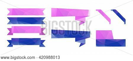 Group Of Ribbons, Low Polygonal Vector Labels. Purple And Blue Banners From Triangles
