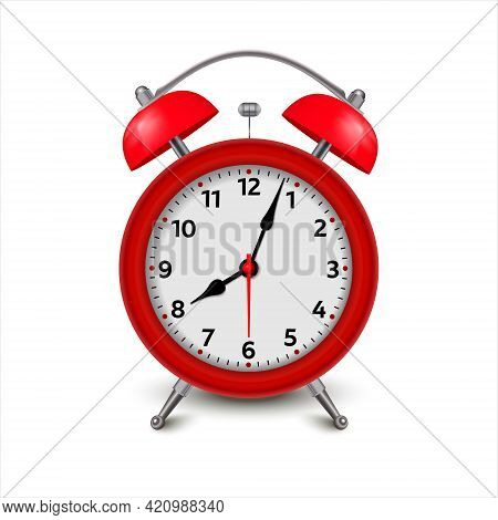 Alarm Clock. 3d Illustration Isolated On White Background Red Alarm Clock Set At One Close-up. Vecto
