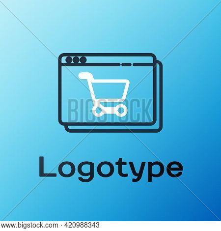 Line Online Shopping On Screen Icon Isolated On Blue Background. Concept E-commerce, E-business, Onl