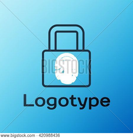 Line Fingerprint With Lock Icon Isolated On Blue Background. Id App Icon. Identification Sign. Touch