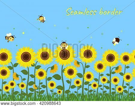 Horizontal Seamless Border With Yellow Sunflowers, Green Grass And Bees Collecting Nectar Against Th