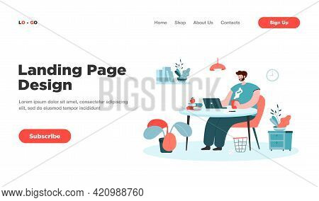 Happy Freelance Worker Sitting At Table. Man Working From Home At Laptop, Remote Work Flat Vector Il
