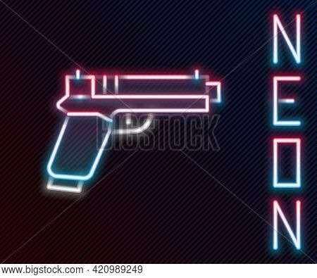 Glowing Neon Line Pistol Or Gun Icon Isolated On Black Background. Police Or Military Handgun. Small