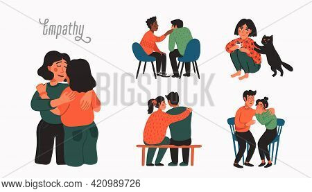 Empathy. Empathy And Compassion Concept - People Comforting Each Other.