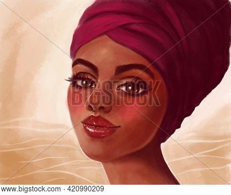 Illustration Of A Beautiful Black Woman In A Turban. Art Illustration, African American Beauty, Afri