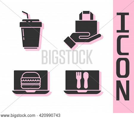 Set Online Ordering And Delivery, Coffee Cup To Go, Online Ordering Burger Delivery And Online Order