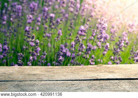 Fresh lavender background over wooden table. Soft focus