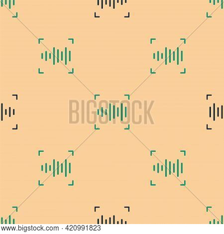 Green And Black Voice Recognition Icon Isolated Seamless Pattern On Beige Background. Voice Biometri