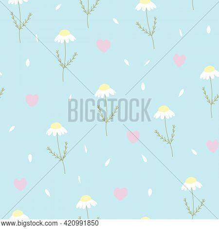 Vector Seamless Pattern With Chamomile, Petals And Hearts On Blue Background. For Decoration, Invita