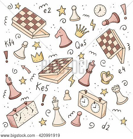 Hand Drawn Set Of Cartoon Chess Game Elements. Doodle Sketch Style. Isolated Vector Illustration For