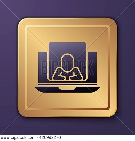 Purple Online Psychological Counseling Distance Icon Isolated On Purple Background. Psychotherapy, P