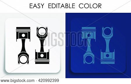 Car Engine Piston Icon On Paper Square Sticker With Shadow. Engine Operation, Oil Change, Car Servic