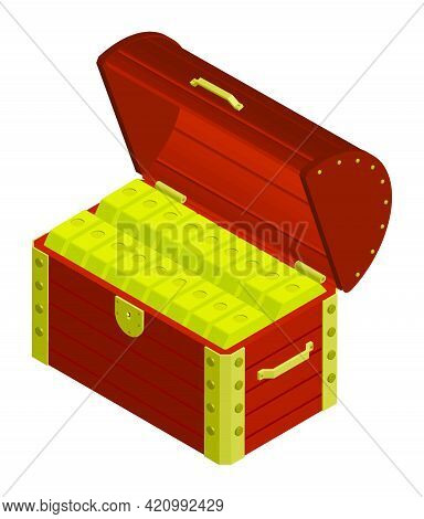 Open Wooden Chest Full Of Pirate Treasures. Ingots Of Gold In Chest. Success In Search For Wealth On