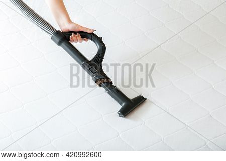 Woman Do Professional Cleaning Mattress By Vacuum Cleaner From Dust Bacteria Dirty. Vacuum Cleaner M