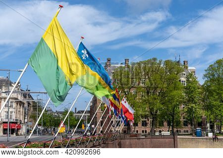 The Flags Of The Twelve Dutch Provinces Flying Near The Dutch Parliament In Den Haag