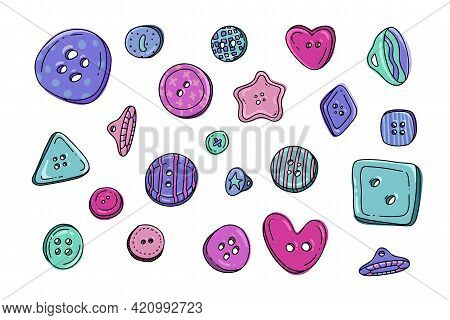Button Clothes Doodle Set. Collection Of Colorful Kids Plastic Cloth Round Buttons In Cartoon Style.