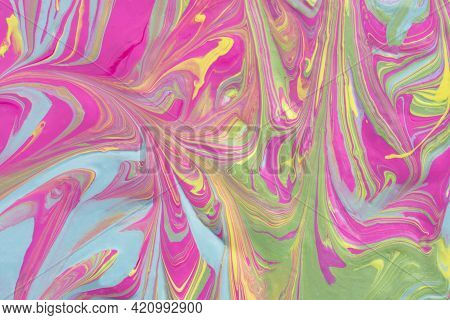 Abstract Fluid Art Texture. A Multicolored Pictorial Fragment Of A Painting. Bright Acrylic Drawing