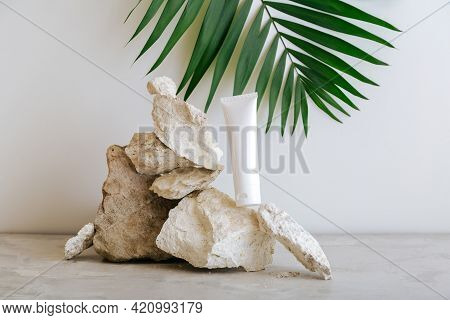 Natural Beauty Cosmetic Tube Mockup Product For Skincare With Palm Leaf Plant On Stone Pedestal Gray